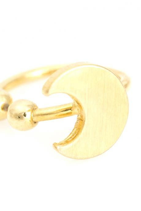 1 Crescent Moon Non Pierced Ear Wrap Gold Plated over Brass 5NCAC1
