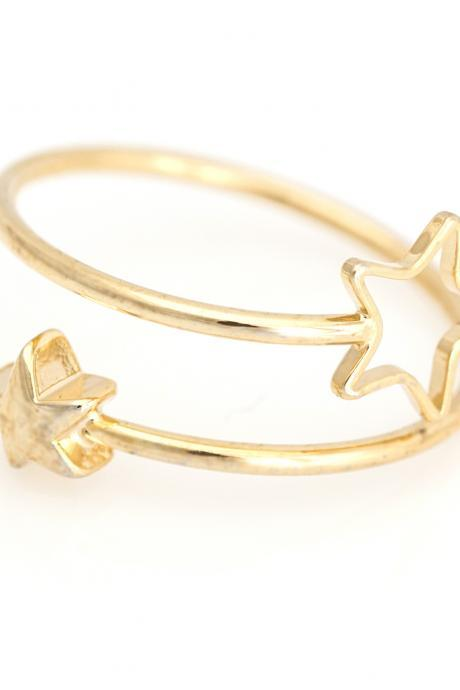 2 Stars Open Ring Shiny Free Size Ring Gold Plated over Brass 5NBAR14