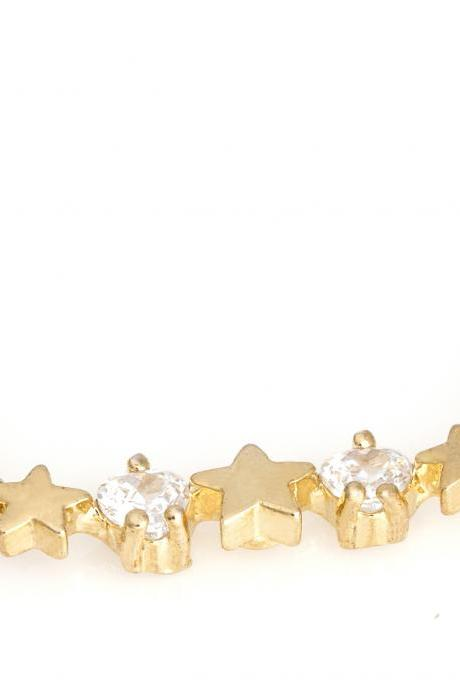 Multi Stars Necklace Shiny Necklace Gold Plated over Brass 5NBAN3