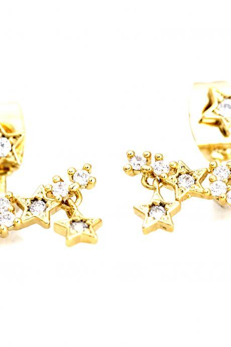 Two Way Stars Earrings Ear Jacket Gold Plated over Brass 5NBAE1
