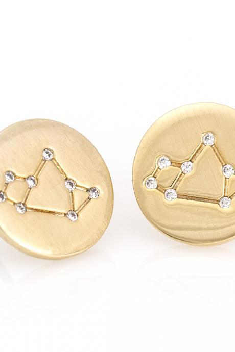 Sagittarius Earrings Zodiac Stud Round Earrings Gold Plated over Brass 5NABE59