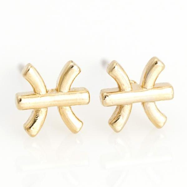 Pisces Earrings Zodiac Stud Delicate Earrings Gold Plated over Brass 5NAAE112
